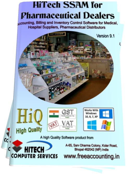 Business Management and Accounting Software for pharmaceutical Dealers, Medical Stores. Modules :Customers, Suppliers, Products, Sales, Purchase, Accounts & Utilities. Free Trial Download.