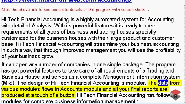 HiTech - Online Accounting Software, Business Accounting Package, A Web based Accounting Package designed to meet the requirements of small and medium sized business. This web based software is extremely handy in automating the routine accounting tasks.