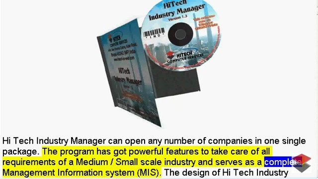 Industry Management Software, Accounting Software for Industry, Business Management and Accounting Software for Industry, Manufacturing units. Modules : Customers, Suppliers, Inventory Control, Sales, Purchase, Accounts & Utilities. Free Trial Download.